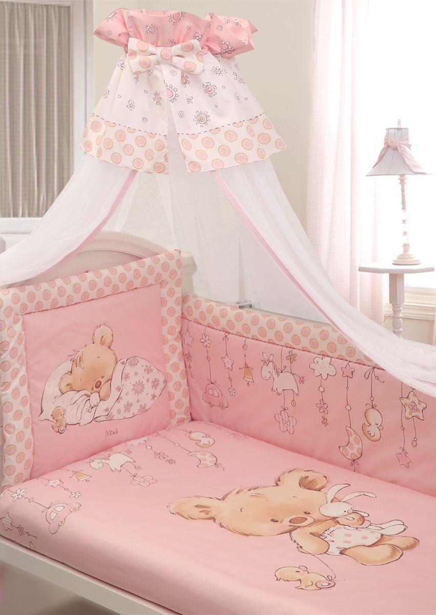 Золотой Гусь Комплект белья в кроватку Mika сатин цвет розовый 7 предметов 60 x 120 см комплект в кроватку золотой гусь mika сатин 7 пр розовый