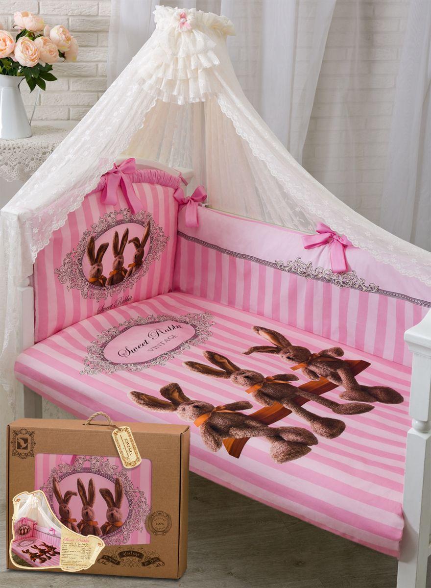 Золотой Гусь Комплект белья для новорожденных Sweet Rabbit 7 предметов цвет розовый - Детская комната