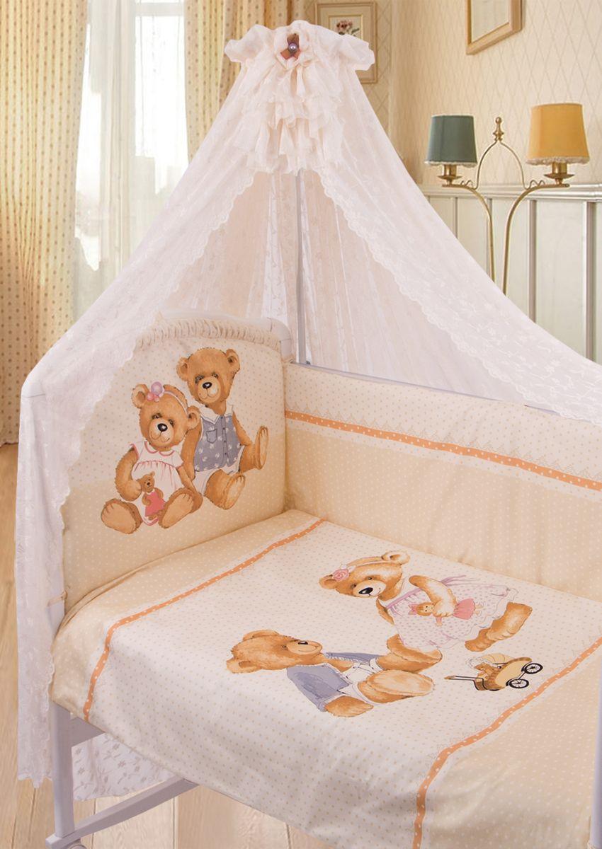 Комплект белья в кроватку Золотой Гусь ТМ Sweety Bear 7 предметов цвет молочный 60 см x 120 см175Комплект в кроватку из 7 предметов. Выполнен из хлопка (сатин). Коллекция «ВИНТАЖ». Уникальный дизайн комплекта сделает комнату малыша неповторимой. Цифровой рисунок на ткани устойчив к стирке и глажению изделия. В комплект входит: Балдахин из гипюра с винтажной брошью на бархатной ленточке, одеяло, пододеяльник на молнии декорирован печатным рисунком , подушка, наволочка, бампер из 4-х частей с завязками (чехол на молнии) декорирован рисунком и бантиками, простыня на резинке непромокаемая. Фирменная крафт-коробка служит достойным оформлением комплекта. Рекомендован на детскую кроватку 120х60