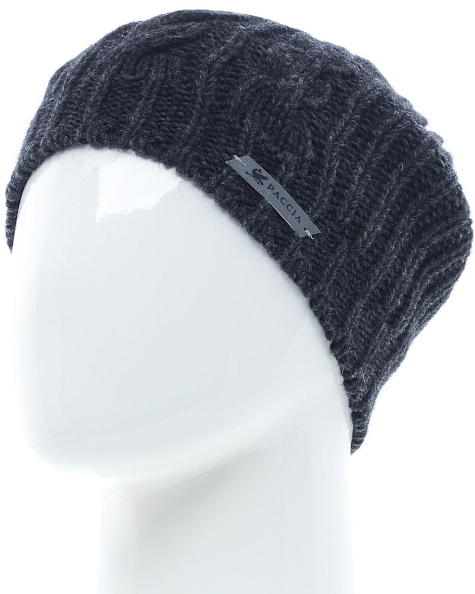 Шапка женская Paccia, цвет: антрацит. NR-21708-2. Размер 55/58NR-21708-2Вязаная женская шапка-бини Paccia выполнена из акрила с добавлением шерсти. Эта шапка не только согреет в холодную погоду, но и стильно дополнит ваш образ.