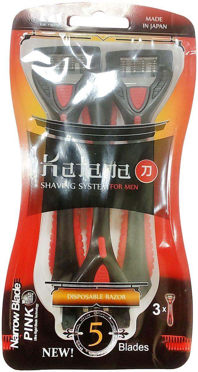 Kai Бритва безопасная для мужчин Katana - 5 лезвий, одноразовая1675Новая интеллектуально подходящая система позволяет головке бритвы поворачивать в различных направлениях, комфортно скользить по любым контурам вашего лица, доставляя нежные и мягкие ощущения.Эргономически удобная ручка. Удобная форма и комфортное резиновое покрытие ручки для максимального контроля над бртвой.5 лезвий для гладкого бритья. 5 лезвий с титановым покрытием, произведенных по самым последним ПИНК и НКАТ технологиям, приносят невероятную близость, позволяя прочным лезвиям оставаться острыми и служить дольше.