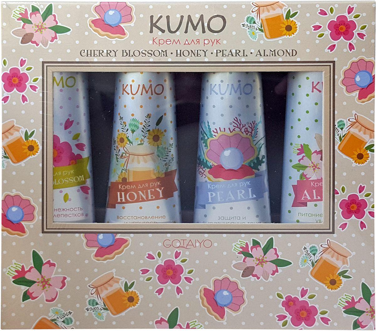 Kumo Набор из 4-х кремов для рук: Cherry Blossom, Honey, Pearl, Almond, 4 х 30 г20161Нежность сакуры. Легкий крем с эссенцией цветов сакуры обладает превосходным смягчающим действием и быстро впитывается. Натуральные растительные компоненты, масло ши и масло авокадо, питают и увлажняют кожу, активизируют выработку коллагена.