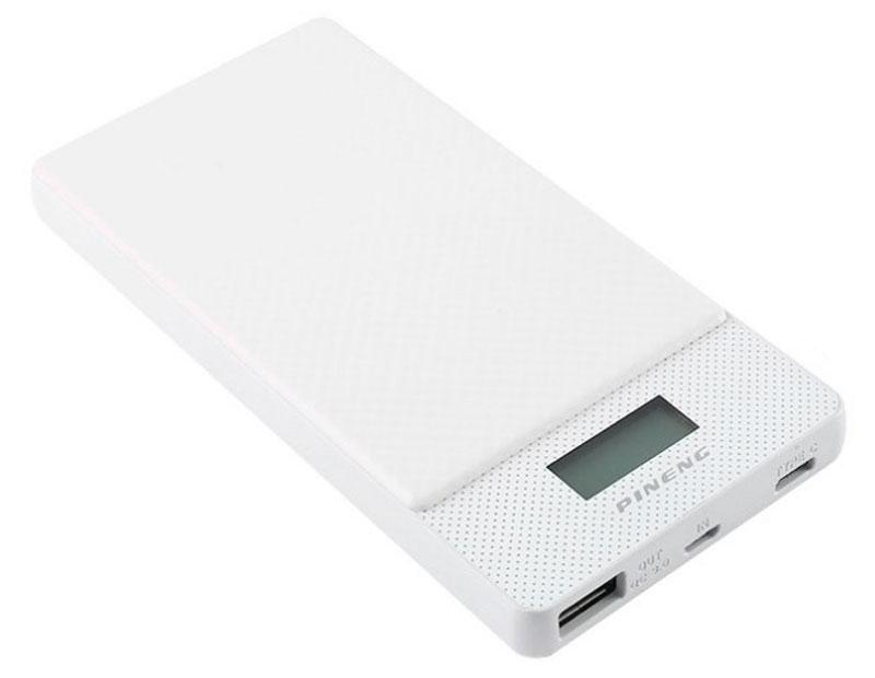 Pineng PN-993, White внешний аккумулятор c Type-C (10000 мАч)PN-993WHPineng PN-993 - это первый внешний портативный аккумулятор от Pineng с функцией Quick Charge. В нем так же используются литий-полимерные батареи.Pineng PN-993 идеален для ежедневного использования, краткосрочных поездок и путешествий. Упакован в прочный, но легкий корпус из ударопрочного пластика в новом дизайне. Размер устройства сопоставим с размером телефона, поэтому его удобно держать в кармане. Поверхность корпуса портативного аккумулятора Pineng выполнена в виде гладкого пиксельного узора.Pineng имеет 2 отдельных выхода: USB 2.0 выход QC 3.0 с напряжением 4.6В-12В и током 3A-1.5A и USB Type-C с напряжением 5 вольт и током 3А. Оба выхода работают одновременно. Для контроля остатка заряда предусмотрен фирменный запатентованный жидко-кристаллический дисплей (с голубой подсветкой), отображающий остаток заряда в процентах.Pineng PN-993 на 100% совместим со всеми современными телефонами и планшетами (Apple, Samsung, HTC, Huawei, Nokia, LG, SONY, ACER, ASUS, Lenovo, Xiaomi, Meizu, Fly и многими другими), а также поддерживает все электронные устройства с питаем от 5 вольт: фото- и видеокамеры, GoPro, фитнес трекеры, портативные колонки, GPS навигаторы, радиопередатчики, аудио плееры и множество других.