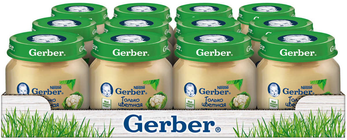 Gerber пюре Цветная Капуста с 4 месяцев, 12 шт по 80 г gerber пюре груши вильямс с 4 месяцев 12 шт по 80 г