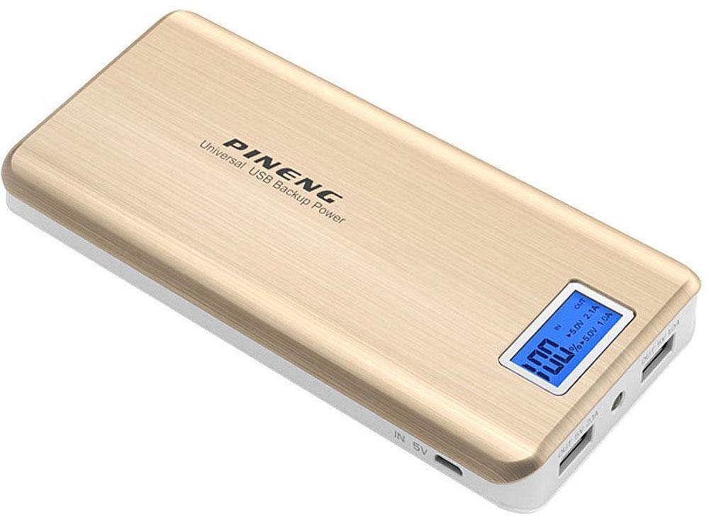 Pineng PN-999, Gold внешний аккумулятор (20000 мАч)PN-999GDPineng PN-999 - это мощный портативный аккумулятор в классическом дизайне для людей, которые дорожат своим временем и рационально относятся к своим приобретениям. Данная модель имеет повышенную емкость и очень привлекательную цену. Корпус выполнен из высококачественного прочного пластика, напоминающего металл. Отличный вариант для тех, кто активно использует гаджеты в течение дня, будь то использование интернета, просмотр медийного контента, работа или игры, и не имеет возможности или времени на пополнение заряда в течение дня или даже недели. Емкости аккумулятора хватит, чтобы зарядить ваш телефон до 10 раз, либо планшет до 3 раз.Из особенностей можно отметить цифровой индикатор заряда с подсветкой, который является фирменным отличием производителя Pineng, а также два USB входа, что позволяет заряжать два устройства одновременно. Также из удобств можно отметить наличие светодиодного фонарика. Портативный аккумулятор Pineng PN-999 имеет современную систему защиты от перезарядки, перепадов напряжения и полной саморазрядки. Для полного заряда аккумулятора требуется около 12 часов зарядки от розетки. Если ставить его на зарядку на ночь пару раз в неделю, этого будет достаточно, чтобы пользоваться устройством ежедневно без перерывов!Pineng PN-999 на 100% совместим со всеми современными телефонами и планшетами (Apple, Samsung, HTC, Huawei, Nokia, LG, SONY, ACER, ASUS, Lenovo, Xiaomi, Meizu, Fly и многими другими), а также поддерживает все электронные устройства с питаем от 5 вольт: фото- и видеокамеры, GoPro, фитнес трекеры, портативные колонки, GPS навигаторы, радиопередатчики, аудио плееры и множество других.