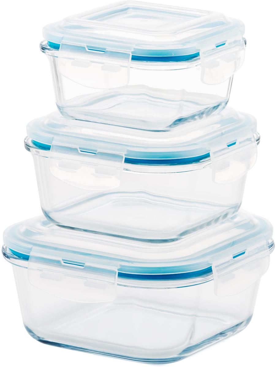 """Набор квадратных контейнеров Eley """"Elegant Сollection"""" состоит из трех пищевых  контейнеров, изготовленных  из жаропрочного боросиликатного стекла. 1. Подходят  для использования в микроволновой печи и духовке (без крышки);2. Подходят для  использования в холодильнике и морозильной камере;3. Подходят для использования в  посудомоечной машине; 4. Можно использовать как формы для запекания (до +400°С). 5. Крышки Air Lock изготовлены из полипропилена и оснащены силиконовым  уплотнителем, для обеспечения полной герметичности внутри контейнеров. Объем: 320 мл, 520 мл, 800 мл."""