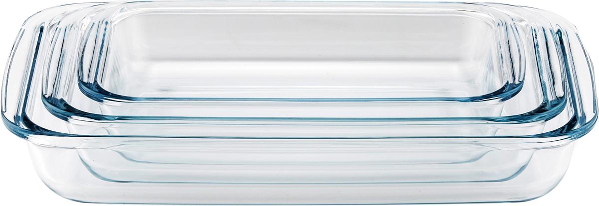 Набор форм для запекания Eley 1600 мл; 2200 мл; 3000 мл, пищевые из жаропрочного боросиликатного стекла.  1. Подходят для использования в духовке микроволновой печи (без крышки);  2. Подходят для использования в холодильнике и морозильной камере;  3 Подходят для использования в посудомоечной машине,  4 Можно использовать как формы для запекания (до +400 С). 5. Крышки изготовлены из полипропилена. 6. Гарантия на изделия - 1 год, 7. срок службы - 2 года.