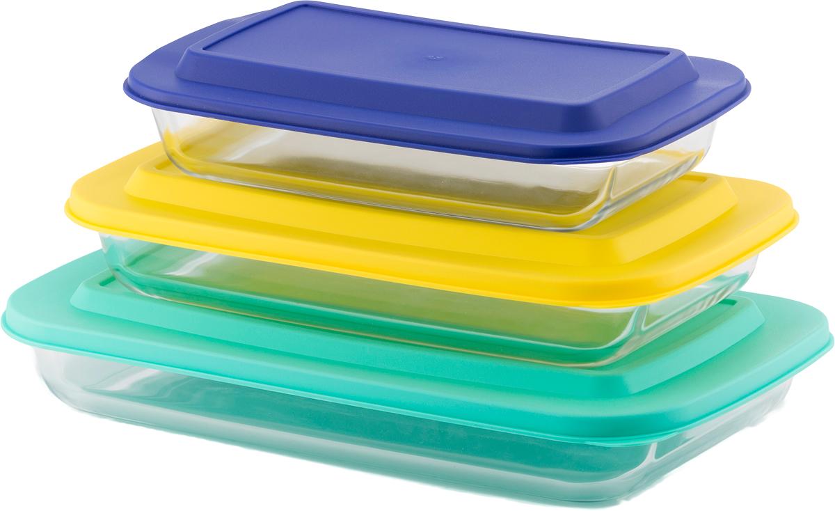 Набор форм для запекания Eley Set,3 штELST006DCНабор форм для запекания с крышками Eley 1600 мл, 2200 мл, 3000 мл, пищевые из жаропрочного боросиликатного стекла. 1. Подходят для использования в духовке (без крышки) и в микроволновой печи (без крышки);2. Подходят для использования в холодильнике и морозильной камере; 3 Подходят для использования в посудомоечной машине,4 Можно использовать как формы для запекания (до +400 С). 5. Крышки изготовлены из полипропилена.