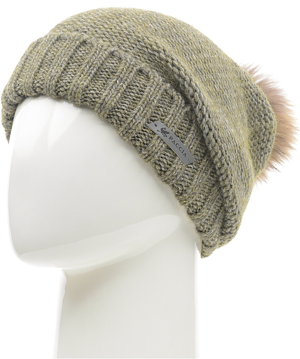 Шапка женская Paccia, цвет: зеленый. NR-21712-5. Размер 55/58NR-21712-5Стильная женская шапка-бини Paccia выполнена из акрила с добавлением шерсти. Модель дополнена отворотом и меховым помпоном. Эта шапка не только согреет в прохладную погоду, но и стильно дополнит ваш образ.