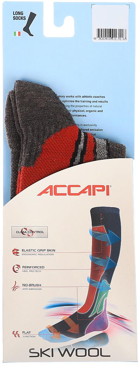 Носки Accapi Ski Wool, цвет: серый, красный, темно-серый. 900_961. Размер 37/39900_961Горнолыжные носки с большим содержанием шерсти Мерино. Области различной плотности берегут ноги от потертостей и компрессий в горнолыжных ботинках. Благодаря зоне с Lycra на своде стопы, носки превосходно сидят на ноге. Тефлоновая обработка нитей обеспечивает большой срок службы и меньшую впитываемость влаги шерстью.