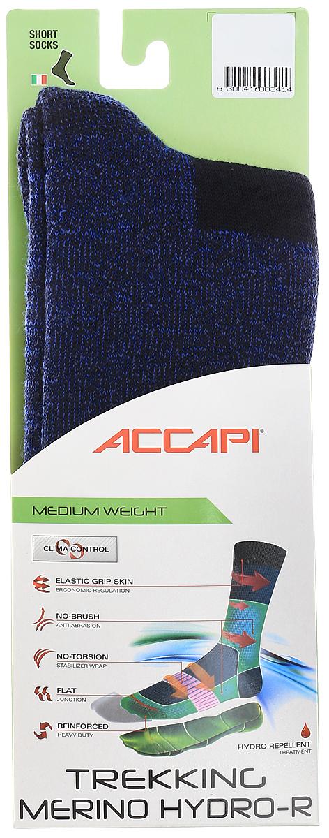 Носки Accapi Trekking Merino Hydro-R, цвет: синий, светло-синий. 802_941. Размер 42/44802_941Высокий трекинговый носок прекрасно подойдет для холодной погоды, входящая в состав шерсть согревает ногу, а синтетика способствует быстрому отведению влаги, усиления в области пальцев и пятки защищают стопу от ударов, потертостей и мозолей.