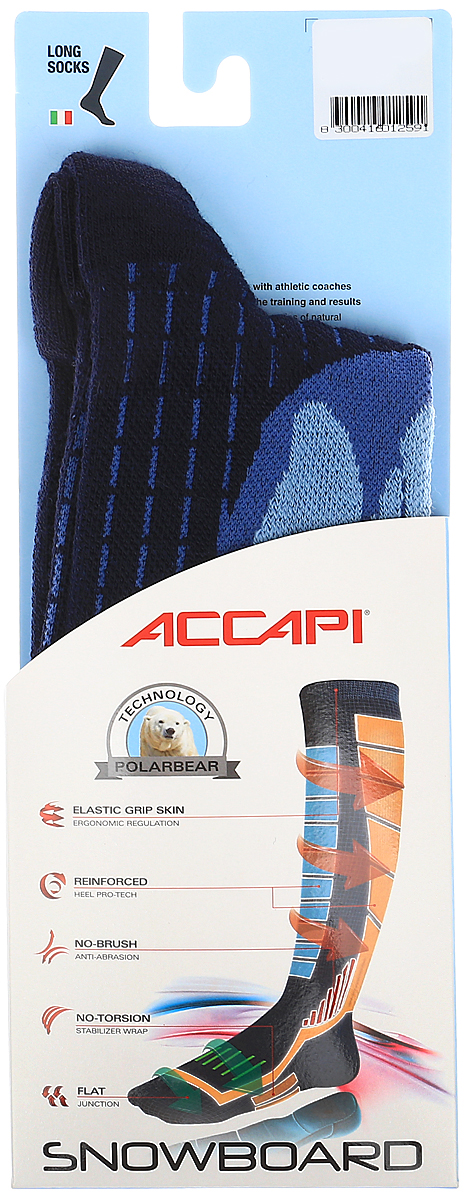 Термоноски Accapi Snowboard, цвет: черный. 1605_945. Размер 37/391605_945Носки с усиленной поддержкой икроножной мышцы отлично подходят для спортивного катания. Мягкая резинка по верху носка не сжимает ногу и не дает ощущения сдавливания даже при длительном использовании.Бесшовная конструкция исключает натирание во время занятий спортом.