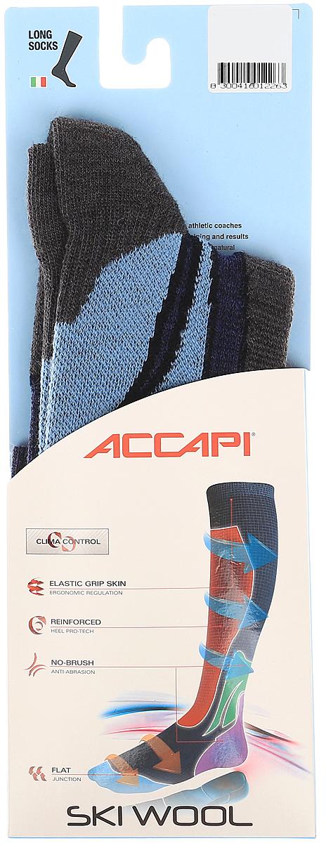 Носки Accapi Ski Wool, цвет: серый, синий, голубой. 900_941. Размер 42/44900_941Горнолыжные носки с большим содержанием шерсти Мерино. Области различной плотности берегут ноги от потертостей и компрессий в горнолыжных ботинках. Благодаря зоне с Lycra на своде стопы, носки превосходно сидят на ноге. Тефлоновая обработка нитей обеспечивает большой срок службы и меньшую впитываемость влаги шерстью.