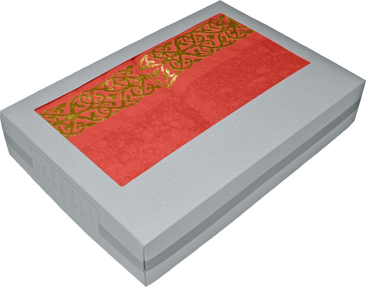 Набор махровых полотенец Tete-a-tete, в подарочной коробке, цвет: коралловый, 2 штНМП-025к