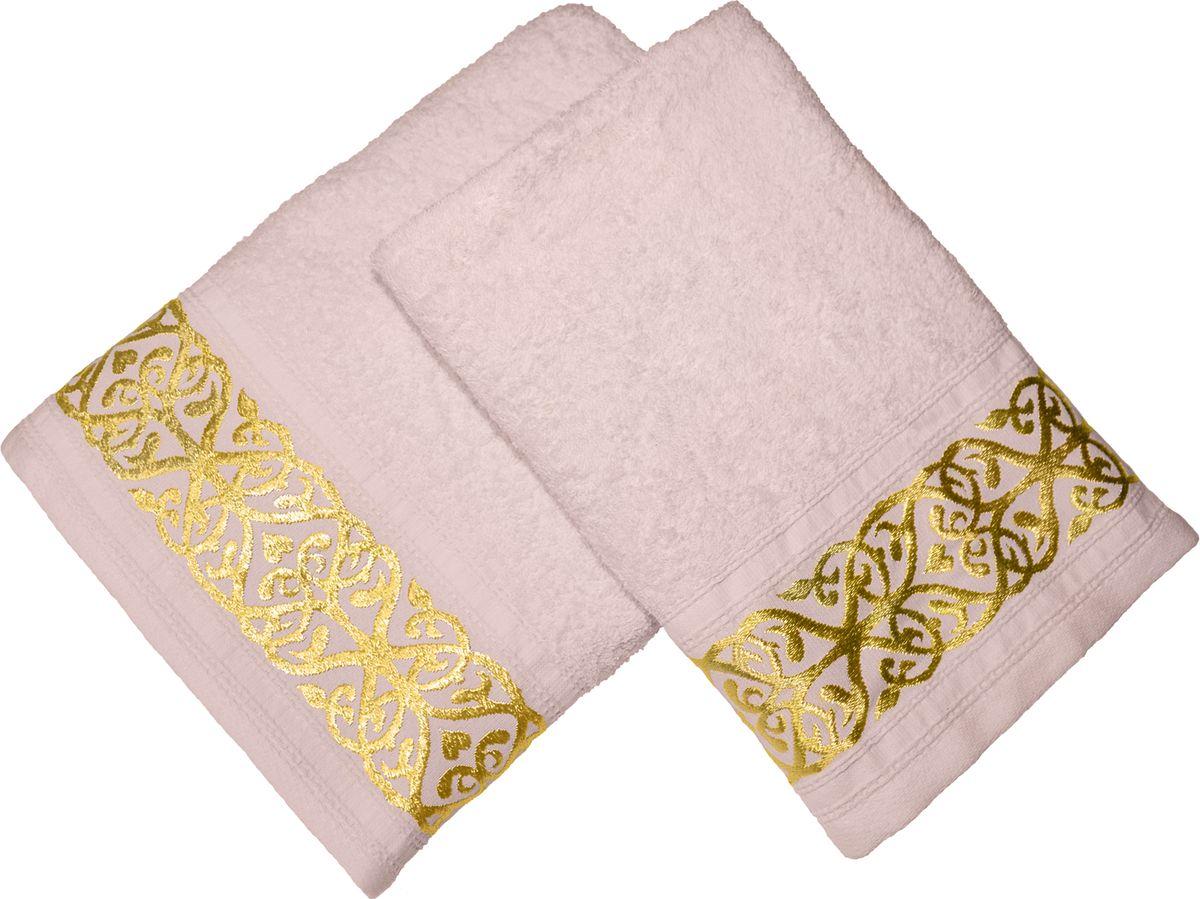 Набор махровых полотенец Tete-a-tete, цвет: розовый жемчуг, 2 штНМП-026