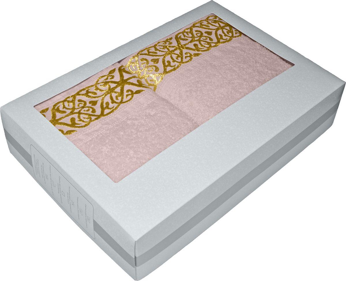 Набор махровых полотенец Tete-a-tete, в подарочной коробке, цвет: розовый жемчуг, 2 штНМП-026к