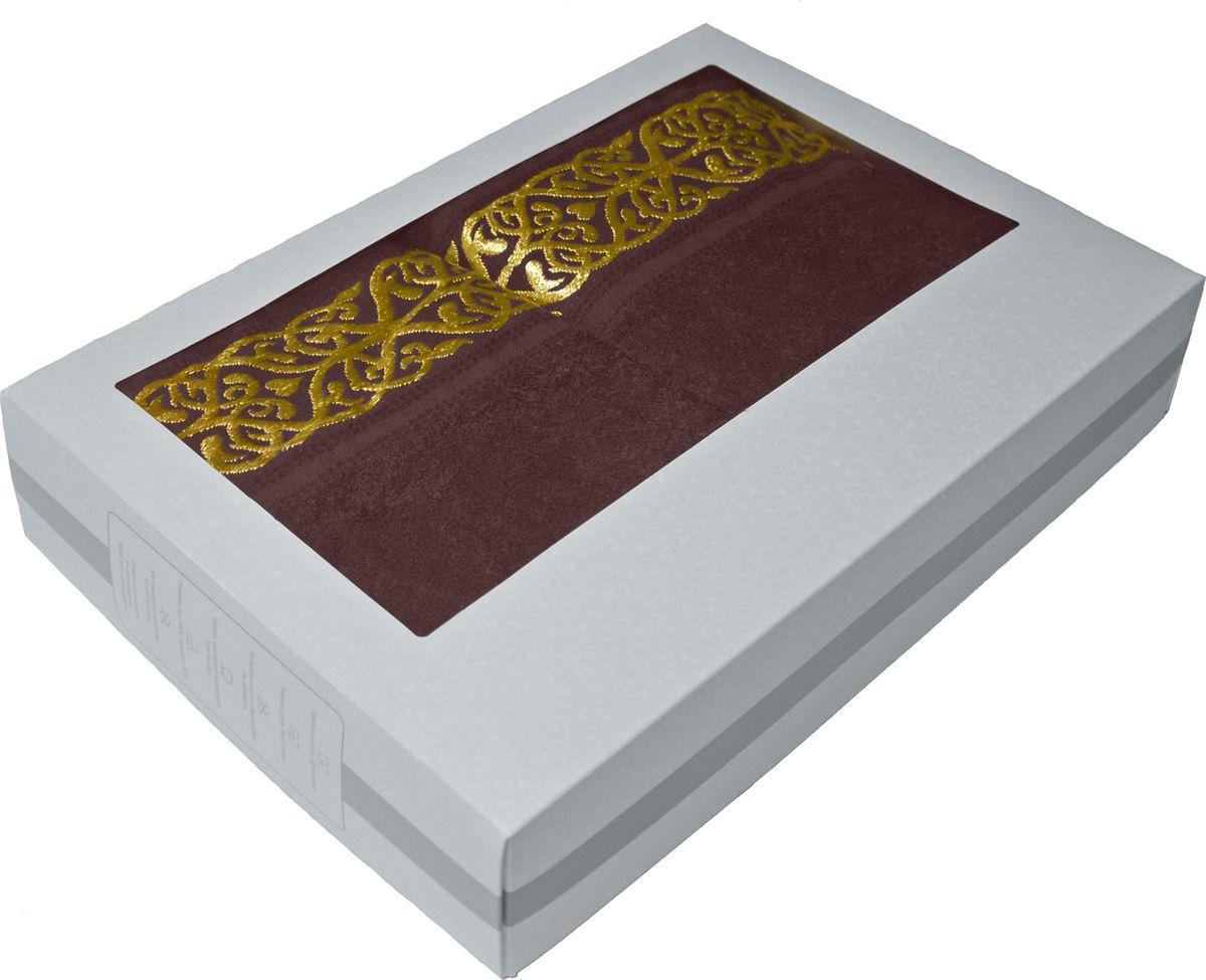 Набор махровых полотенец Tete-a-tete, в подарочной коробке, цвет: темно-кофейный, 2 шт шампань kvadrro м 50х90 70х130 в коробке набор полотенец фиеста
