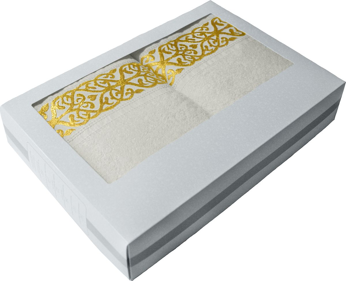 Набор махровых полотенец Tete-a-tete, в подарочной коробке, цвет: белый, 2 штНМП-028к