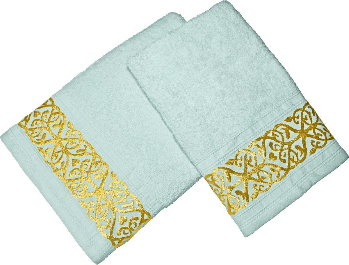 Набор махровых полотенец Tete-a-tete, цвет: ментол, 2 штНМП-029