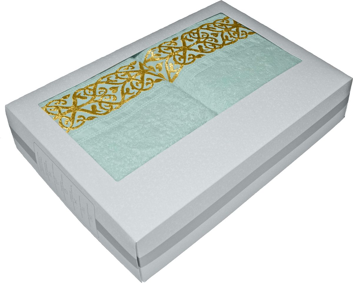 Набор махровых полотенец Tete-a-tete, в подарочной коробке, цвет: ментол, 2 штНМП-029к
