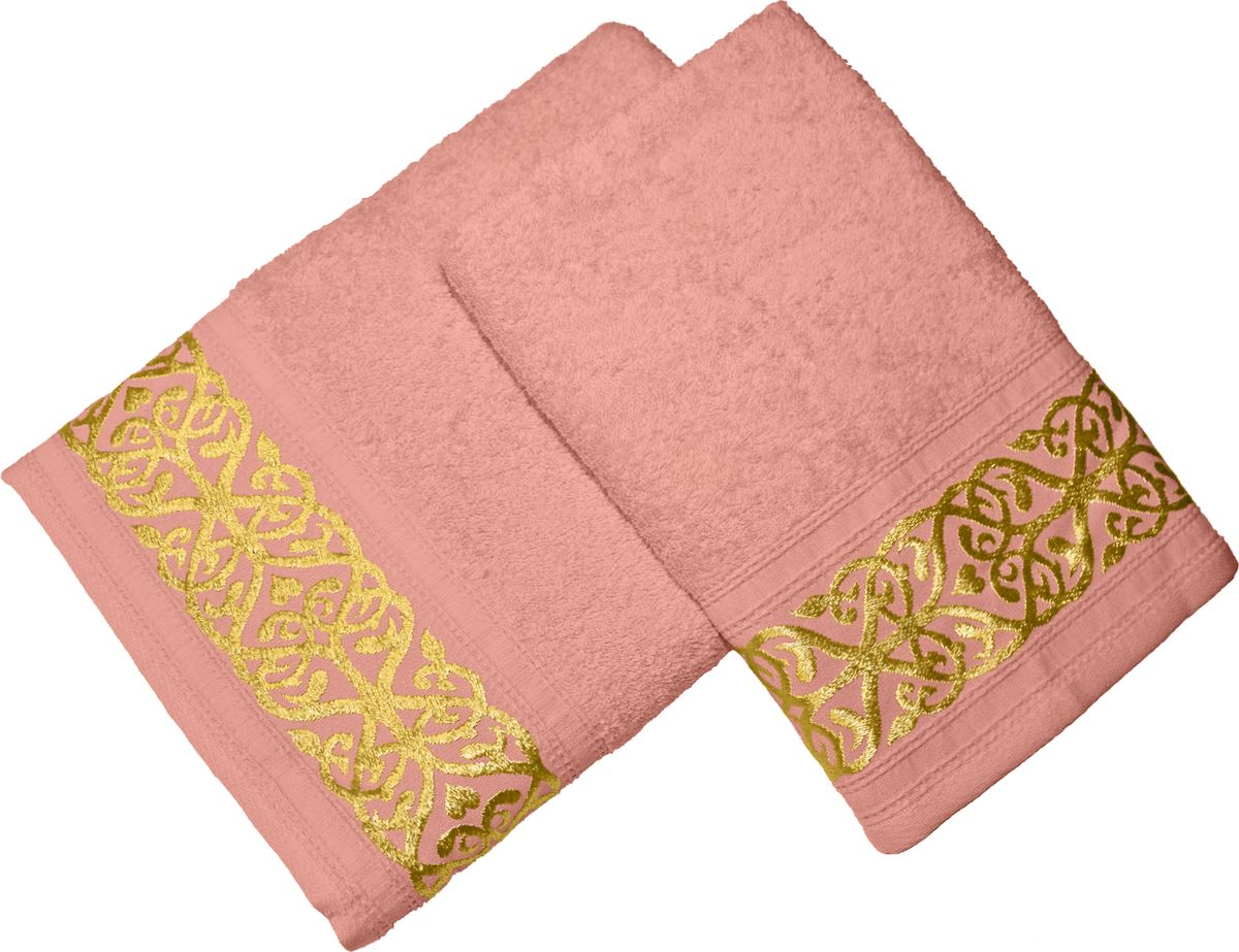 Набор махровых полотенец Tete-a-tete, цвет: персик, 2 штНМП-030