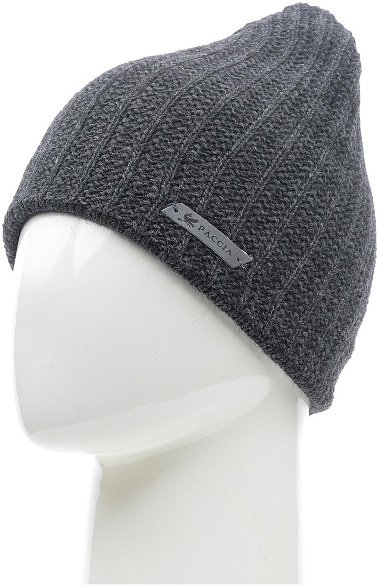 Шапка женская Paccia, цвет: антрацит. NR-21714-2. Размер 55/58NR-21714-2Вязаная женская шапка Paccia выполнена из акрила с добавлением шерсти. Эта шапка не только согреет в прохладную погоду, но и стильно дополнит ваш образ.