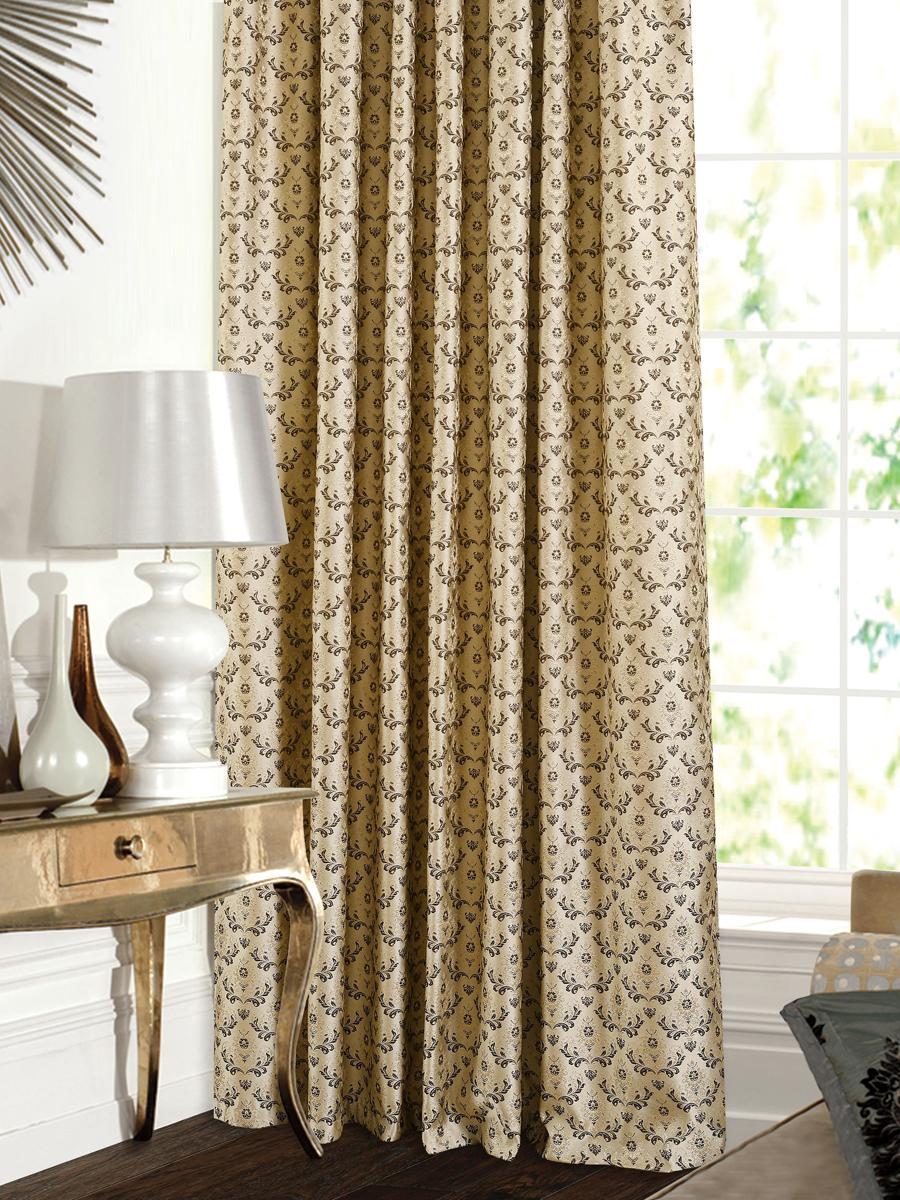 Штора Garden, на ленте, цвет: золотисто-коричневый, высота 260 см. С 537643 V17С 537643 V17Штора для гостиной, выполнена из жаккарда с рисунком вензель золотисто-коричневого цвета. Высокая прочность и износоустойчивость используемых тканей надолго сохранят первоначальный вид изделия. Приятная текстура и цвет штор привлекут к себе внимание и органично впишутся в интерьер помещения. Штора крепится на карниз при помощи ленты, которая поможет красиво и равномерно задрапировать верх.