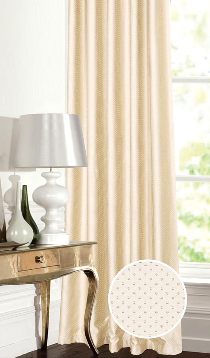 Штора Garden, на ленте, цвет: молочно-золотистый, высота 260 см. С 537649 V2С 537649 V2Штора для гостиной, выполнена из жаккарда с рисунком. Приятная текстура и цвет штор привлекут к себе внимание и органично впишутся в интерьер помещения. Штора крепится на карниз при помощи ленты, которая поможет красиво и равномерно задрапировать верх.