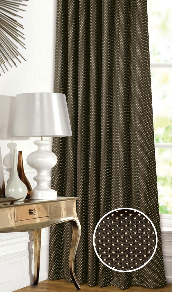 Штора Garden, на ленте, цвет: коричневый, высота 260 см. С 537649 V751С 537649 V751Штора для гостиной, выполнена из жаккарда с рисунком. Приятная текстура и цвет штор привлекут к себе внимание и органично впишутся в интерьер помещения.Штора крепится на карниз при помощи ленты, которая поможет красиво и равномерно задрапировать верх.