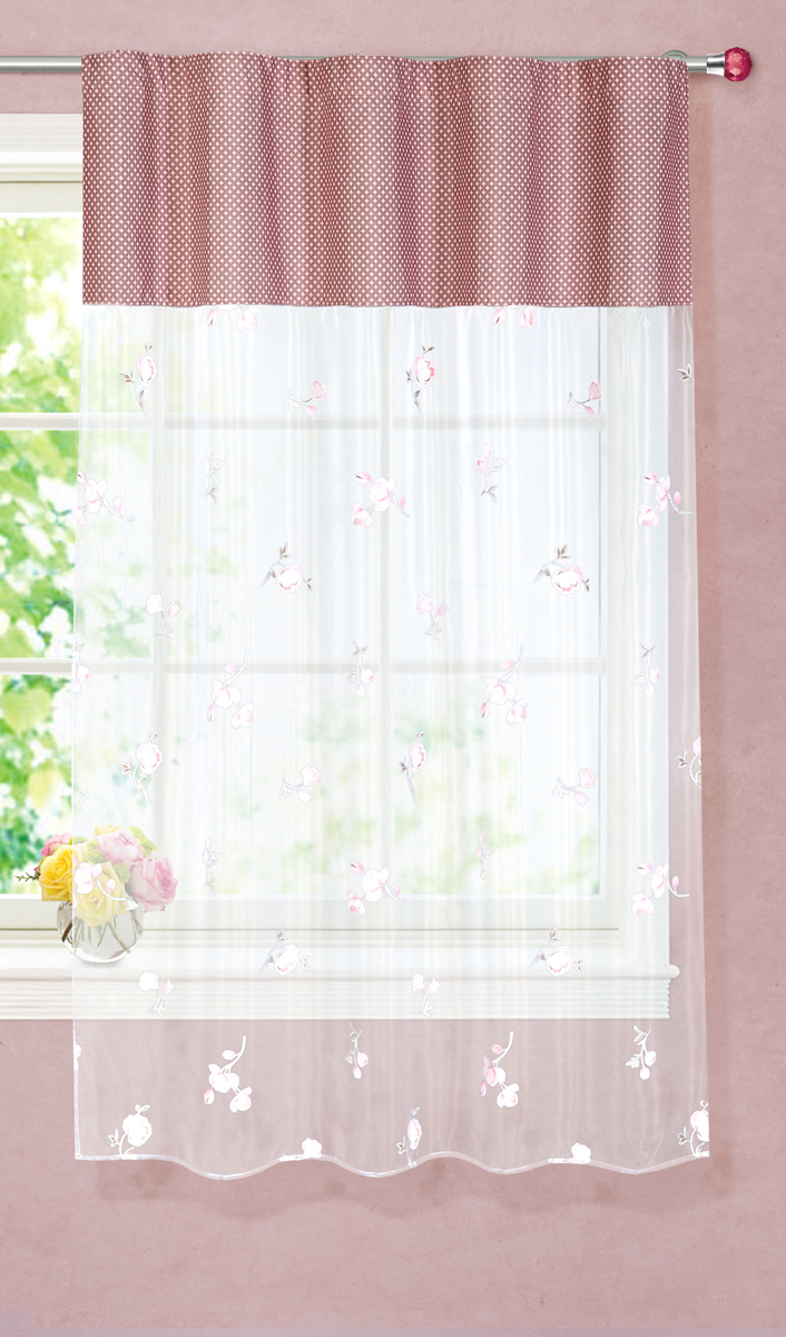 """Тюлевая штора для кухни """"Garden"""" выполнена из легкой органзы (полиэстера) с цветочным рисунком. Легкая текстура материала и яркая цветовая гамма привлекут к себе внимание и станут великолепным украшением кухонного окна. Штора добавит уюта и послужит прекрасным дополнением к интерьеру кухни.Изделие оснащено шторной лентой для красивой сборки."""