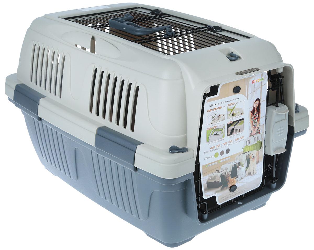 Переноска для животных, цвет: серый, бежевый, 57 x 37 x 35 см. CD#3-2 GreyCD#3-2 GreyПереноска для животных, выполненная из высококачественного пластика, прекрасно подойдет для собак малых и средних пород и кошек. Переноска достаточно вместительна и оснащена вентиляционными отверстиями в боковых частях, благодаря чему животное может дышать.Спереди расположена металлическая дверца-решетка. Сверху имеется ручка для удобной транспортировки, а также открывающая дверца на защелках.Переноска легко собирается и разбирается. Выдвижная пластиковая ручка обеспечивает большую безопасность при переноске. Самоблокирующая дверь делает транспортировку безопасной и удобной для животного и его хозяина. Размер: 57 x 37 x 35 см.