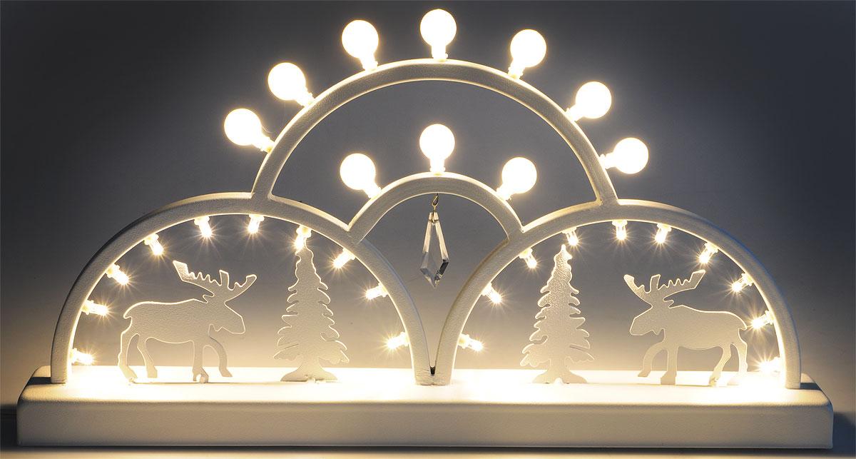 Украшение декоративное новогоднее B&H Металлическая горка, 4 дуги, светодиодное, 30 LEDBH0604Украшение декоративное новогоднее B&H Металлическая горка применяется для декорирования помещений, окон, витрин и других объектов. Питание - от сети. Украшение предназначено для использования внутри помещений и представляет собой оригинальную композицию ламп, оленей и металлических дуг.Светодиодное изделие создаст праздничную атмосферу и наполнит ваш дом радостью и позитивной энергией.Длина сетевого шнура: 1,5 м.30 светодиодов.Цвет свечения: холодный белый. Размер: 44 x 23,5 x 5,5 см.