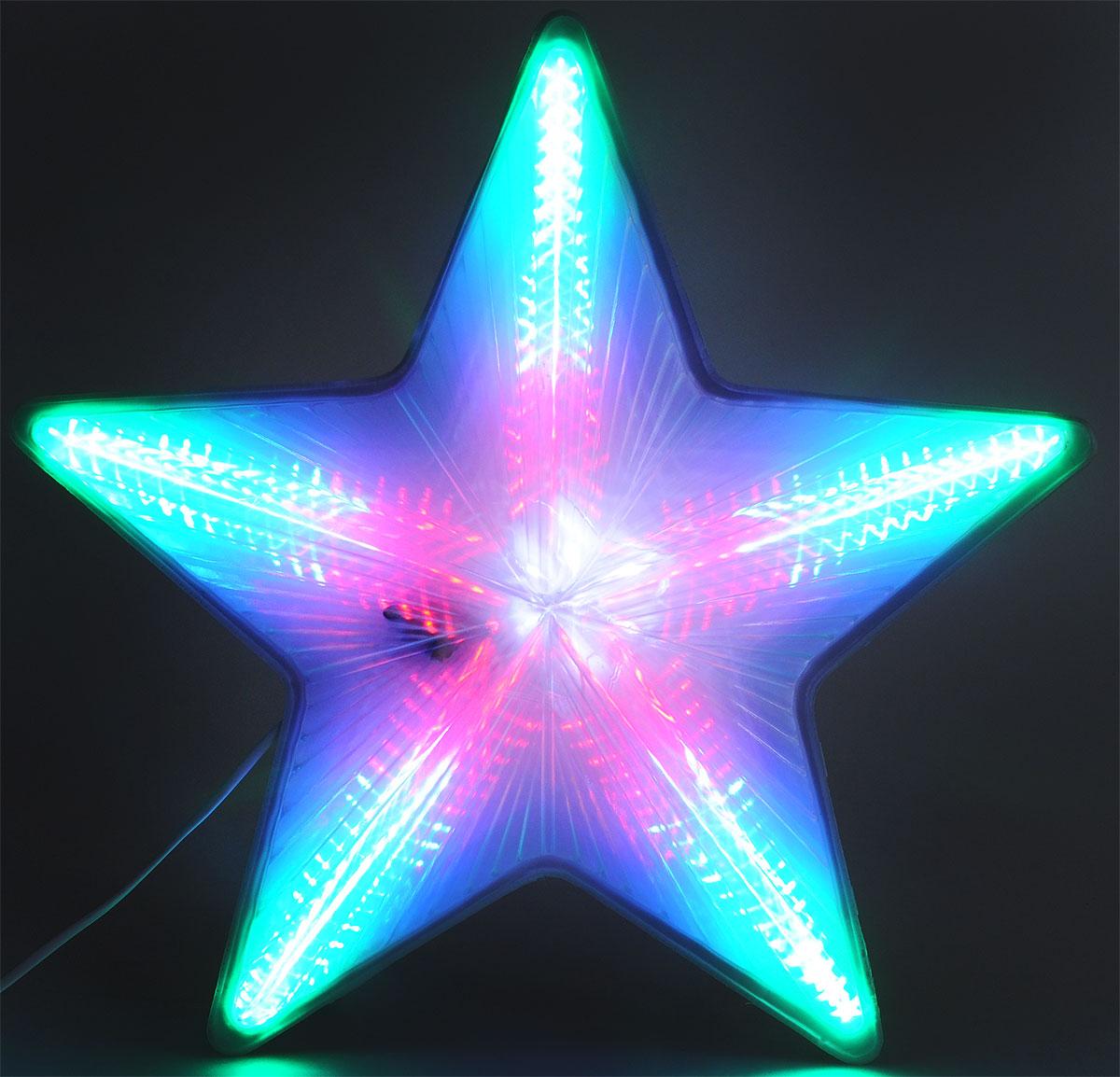 """Фигура светодиодная B&H """"Звезда"""" с белыми, красными, синими и зелеными светодиодами  используется внутри помещений. Внутри пластикового корпуса звезды установлена плата, на  которой смонтированы светодиоды, запрограммированые на создание большого количества  разнообразных эффектов.  Длина сетевого шнура: 5 м.  Диаметр: 49 см."""