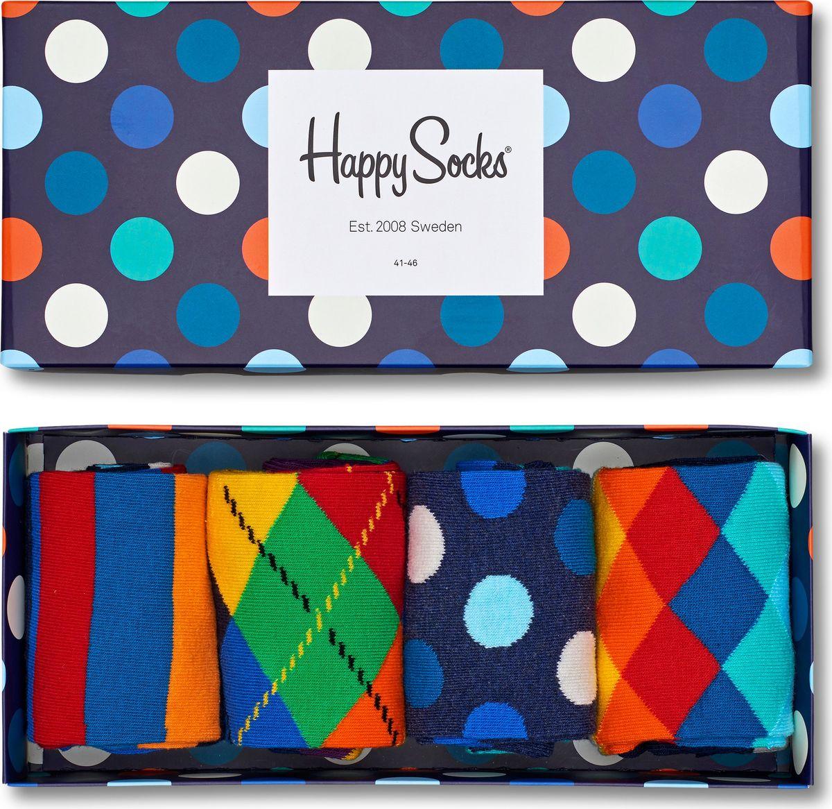 Носки Happy Socks Mix, цвет: мультиколор, 3 пары. XMIX09. Размер 41/46XMIX09Носки Happy Socks Argyle, изготовленные из высококачественного комбинированного материала, очень мягкие и приятные на ощупь, позволяют коже дышать. Широкая эластичная резинка плотно облегает ногу, не сдавливая ее, обеспечивая комфорт и удобство. Носки оформлены оригинальным принтом.Удобные и комфортные носки великолепно подойдут к любой вашей обуви