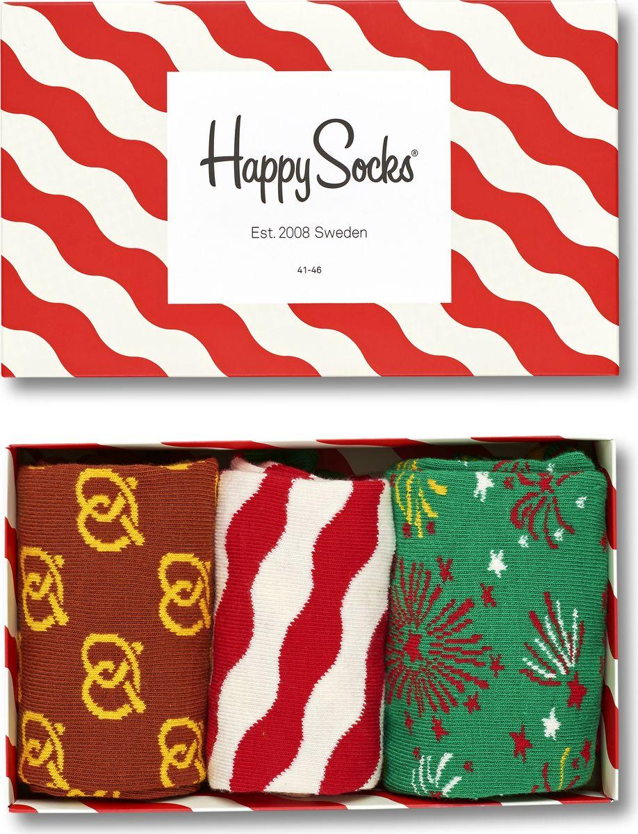 Носки Happy Socks Singing Holiday, цвет: мультиколор, 3 пары. XMAS08. Размер 41/46XMAS08Носки Happy Socks Argyle, изготовленные из высококачественного комбинированного материала, очень мягкие и приятные на ощупь, позволяют коже дышать. Широкая эластичная резинка плотно облегает ногу, не сдавливая ее, обеспечивая комфорт и удобство. Носки оформлены оригинальным принтом.Удобные и комфортные носки великолепно подойдут к любой вашей обуви