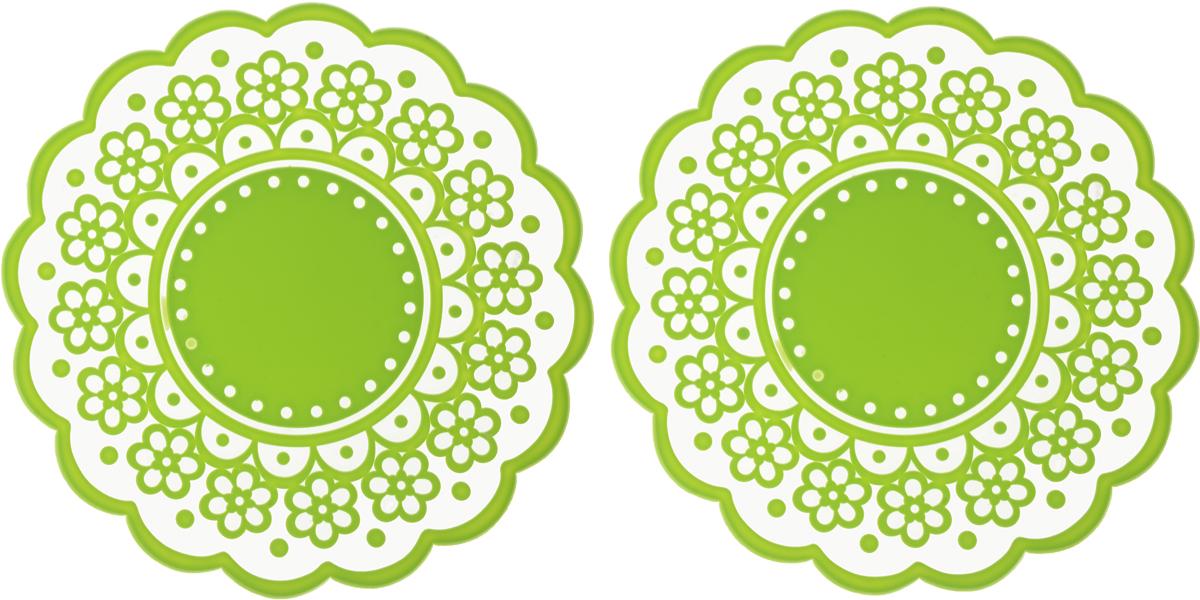 Набор подставок под горячее Доляна Авангард, цвет: салатовый, диаметр 12 см, 2 шт812073Силиконовая подставка под горячее - практичный предмет, который обязательно пригодится в хозяйстве. Изделие поможет сберечь столы, тумбы, скатерти и клеенки от повреждения нагретыми сковородами, кастрюлями, чайниками и тарелками. Подставки легко моются, не впитывают запахи, не деформируются. Выпечка не пригорает и легко извлекается.