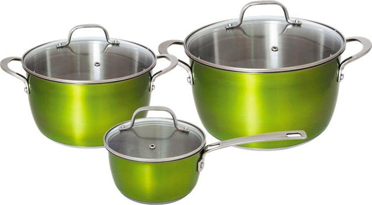 Набор посуды для приготовления из высококачественной нержавеющей стали станет незаменимым помощником на вашей кухне на долгие годы. В комплекте: ковш с крышкой 16х8,5 см \ 1,5 л, кастрюля с крышкой 20х11,5 см \ 3,3 л, кастрюля с крышкой 24х13,5 см \ 5,7 л. Комбинированная крышка из термостойкого стекла и стали с паровыпуском. Внутри матовая полировка с отметками литража для точного соблюдения рецепта, снаружи цветное покрытие.   Аксессуары: стальные ручки, крепление клепочное. Try-ply bottom - трехслойное дно с термоаккумулирующей прослойкой из алюминия. Подходит для индукционных плит. Толщина стенок: 0,6 мм.