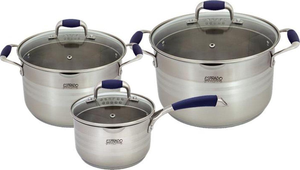 Набор посуды Esprado Marina, 6 предметов1631N-ВННабор посуды для приготовления из высококачественной нержавеющей стали. В комплекте: ковш с крышкой 16 х 10 см, объем 2,0 л, кастрюля с крышкой 20 х 12 см, объем 3,8 л, кастрюля с крышкой 24 х 14 см, объем 6,2 л. Носик на кастрюле и крышка с отверстиями для слива жидкости. Матовая полировка с гравировкой отметок литража внутри и матовая полировка с тремя кольцами глянцевой полировки снаружи. Крышка из стекла с отверстием для выпуска пара. Аксессуары: стальные ручки с силиконом. Try-ply bottom - трехслойное капсулированное дно с термоаккумулирующей прослойкой из алюминия.Подходит для индукционных плит. Выгравированный логотип на крышке и на дне. Толщина стенок: 0,6 мм.