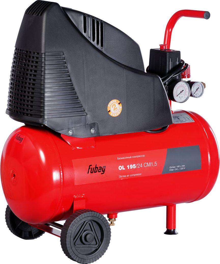 Компрессор Fubag OL 195/24 CM1,5A6CC304KOA601 (A6CC304KOA092)Безмасляный коаксиальный компрессор Fubag OL 195/24 CM1,5 производительностью 180 л/мин. Компактный компрессор с небольшим ресивером 24 л отлично подходит для различных работ дома, на даче и в гараже. Легко запускается при низких температурах. Уверенно работает на неровных и наклонных поверхностях. Безмасляный компрессор обеспечивает чистый, без примесей масла, воздух на выходе. Это особенно важно там, где чистота воздуха оказывает огромное влияние на результат, например покраска автомобиля или аэрография Высокая надежность аппарата достигается за счет функции тепловой защиты двигателя, отключающая компрессор при перегрузке. Головка цилиндра компрессора имеет большие ребра охлаждения, за счет чего достигается еще большая эффективность работы системы теплоотвода. Встроенный воздушный фильтр очищает всасываемый воздух, что также значительно продлевает срок службы компрессораНебольшой по габаритам и весу компрессор, имеет внушительные колеса и эргономичную ручку. Легкая транспортировка и дальнейшее хранение компрессора возможны как в горизонтальном, так и в вертикальном положении. Характеристики:Минимальное давление: 1 барМаксимальное давление: 8 барТип привода: прямой Количество оборотов в минуту: 3400 об/мин. Частота: 50 Гц.