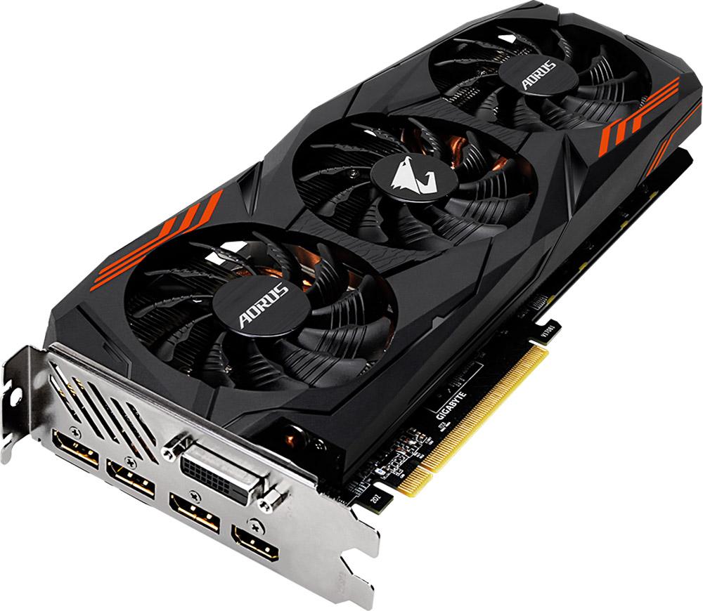 Gigabyte AORUS GeForce GTX 1070 Ti 8GB видеокартаGV-N107TAORUS-8GDВидеокарта Gigabyte AORUS GeForce GTX 1070 Ti создана, чтобы удовлетворить требования игровых энтузиастов. Она основана на революционной архитектуре NVIDIA Pascal GPU, обеспечивая невероятный игровой опыт.Данная модель обеспечивает самую высокую производительность, добавляя продвинутые игровые технологии (NVIDIA GameWorks) и самую продвинутую игровую экосистему (GeForce Experience). Cinematic Game Experience GameWorks раздвигает границы игровой реальности, предоставляя более интерактивный и кинематографический игровой опыт.Система охлаждения состоит из четырех медных композитных трубок, которые напрямую отводят тепло от GPU, и 3-x 80 мм вентиляторов с уникальным дизайном лопастей вентилятора. Благодаря этим характеристикам удается достичь высокого уровня отвода тепла, при высоких нагрузках и низкой температуре.Используется полу-пассивный режим работы, вентиляторы останавливают свою работу, если температура чипа не высокая, или нет достаточной нагрузки. На торце видеокарты расположен индикатор работы вентилятора.Настраиваемая RGB-подсветка логотипа и индикатора работы вентиляторов. Для вас доступны 16.7 миллионов цветовых оттенков и различные схемы работы подсветки. Вы можете установить необходимый режим с помощью программного обеспечения. Металлическая задняя пластина усиливает конструкцию видеокарты, защищает элементную базу от внешнего механического воздействия и повреждений.При производстве карты используются дроссели и конденсаторы высокого качества, благодаря этому факту графическая карта обеспечивает выдающуюся производительность и долговечность системы.Как собрать игровой компьютер. Статья OZON Гид