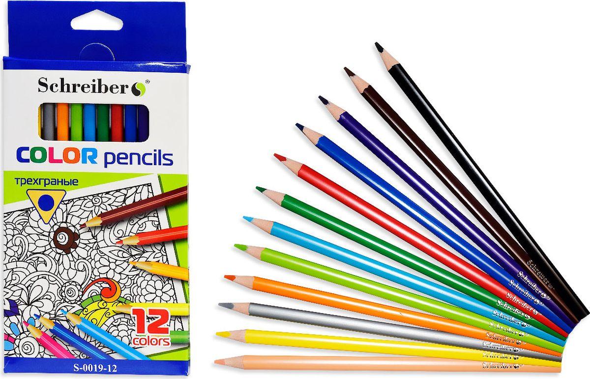 Schreiber Набор карандашей 12 цветовS 0019-12Данные карандаши сделаны из материала без вредных добавлений и примесей, они мягкие, замечательно ложатся на бумагу. Карандаши имеют насыщенные яркие цвета, легко затачиваются.