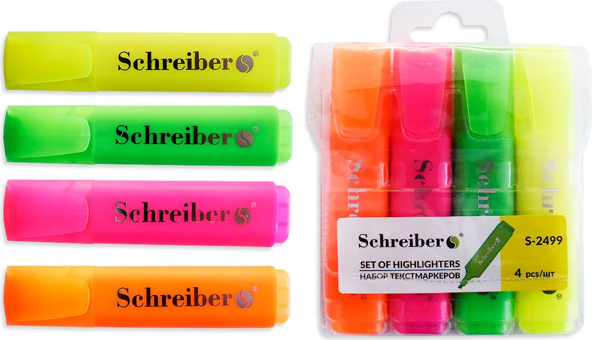 Schreiber Набор маркеров 4 цветаS 2499Текстмаркер Schreiber предназначен для выделения слов или текста в книгах, брошюрах,письмах и т.п. Не размазывает текст, напечатанный на струйных принтерах. Флуоресцентныенасыщенные цвета обеспечивают высокое качество маркировки.