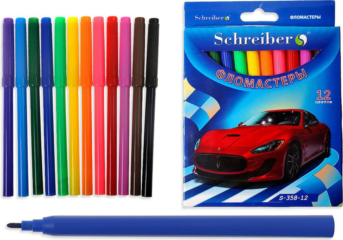 Schreiber Набор фломастеров Красная машина 12 цветов S 358-12S 358-12Фломастеры на водной основе для рисования по любой бумажной поверхности. Яркие цветачернил, не токсичные. Легко смываются с рук водой с мылом, отстирываются с большинствавидов ткани.