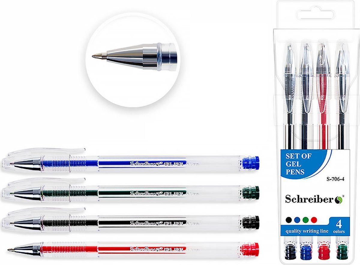 Schreiber Набор гелевых ручек 4 цвета S-706-4S-706-4Гелевая ручка отличный выбор для любителей мягкого и удобного письма. Гелевая консистенция чернил равномерно распределяется по бумаге и быстро сохнет. Гладкое скольжение пишущего узла, удобный корпус и доказанная надежность делает такие ручки одними из самых популярных письменных принадлежностей среди детей и взрослых.