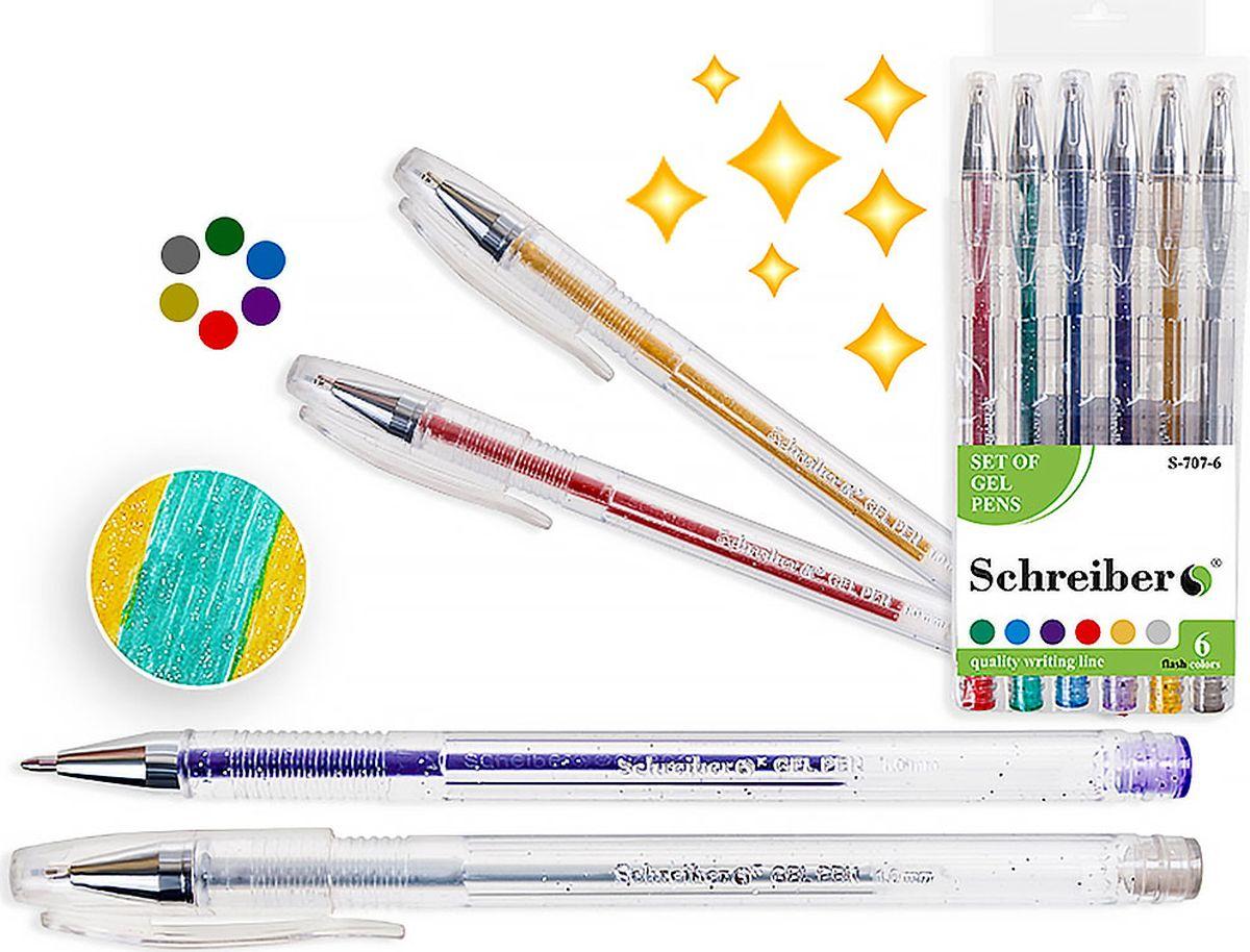 Schreiber Набор гелевых ручек Металлик с блестками 6 цветовS-707-6Гелевая ручка отличный выбор для любителей мягкого и удобного письма. Гелевая консистенция чернил равномерно распределяется по бумаге и быстро сохнет. Гладкое скольжение пишущего узла, удобный корпус и доказанная надежность делает такие ручки одними из самых популярных письменных принадлежностей среди детей и взрослых.