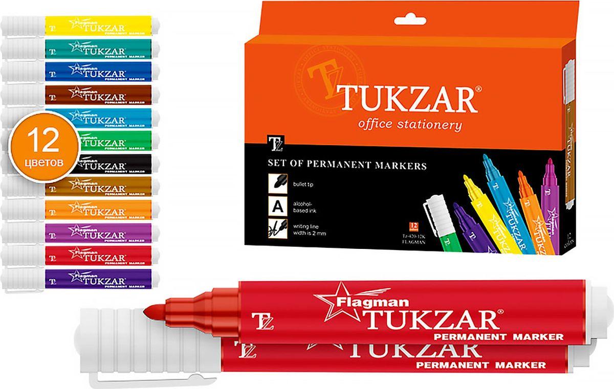 Tukzar Набор перманентных маркеров Flagman 12 цветов -  Маркеры