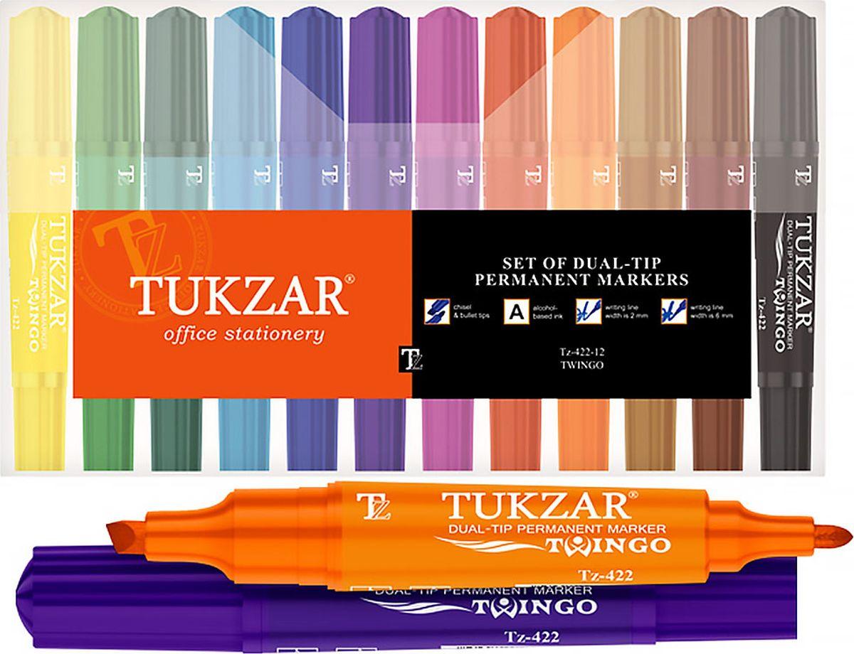 Tukzar Набор перманентных маркеров Twingo 12 цветов TZ 422-12TZ 422-12Перманентные маркеры очень устойчивы, они позволяют нанести надпись на любую поверхность, это может быть дерево, пластмасс и даже металл. Чернила этих маркеров отличаются высокой водостойкостью. Высыхают сразу после нанесения.