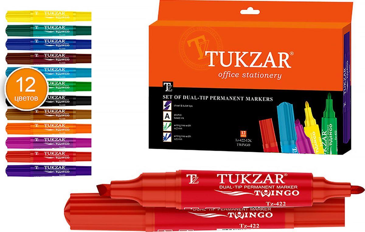 Tukzar Набор перманентных маркеров Twingo 12 цветов TZ 422-12KTZ 422-12KПерманентные маркеры очень устойчивы, они позволяют нанести надпись на любую поверхность, это может быть дерево, пластмасс и даже металл. Чернила этих маркеров отличаются высокой водостойкостью. Высыхают сразу после нанесения.