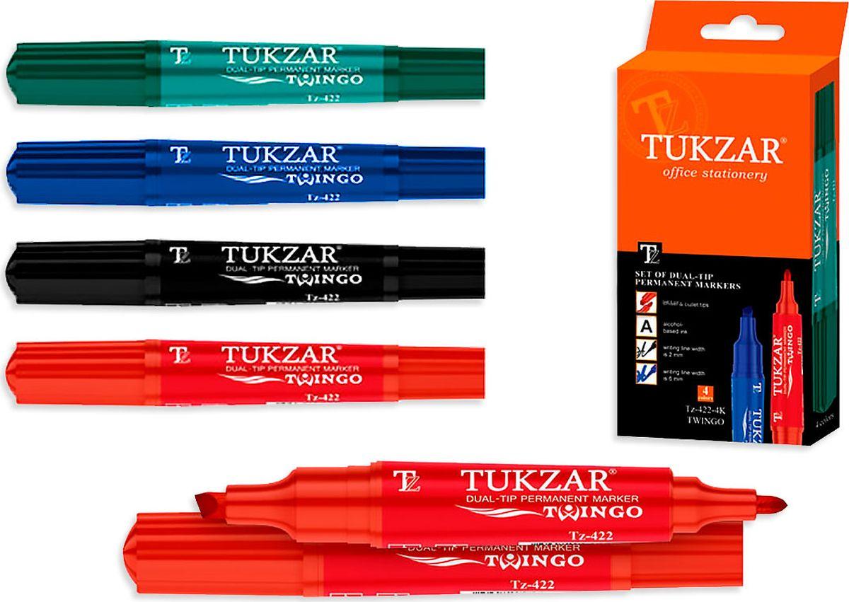 Tukzar Набор перманентных маркеров Twingo 4 цветfTZ 422-4KПерманентные маркеры очень устойчивы, они позволяют нанести надпись на любую поверхность, это может быть дерево, пластмасс и даже металл. Чернила этих маркеров отличаются высокой водостойкостью. Высыхают сразу после нанесения.