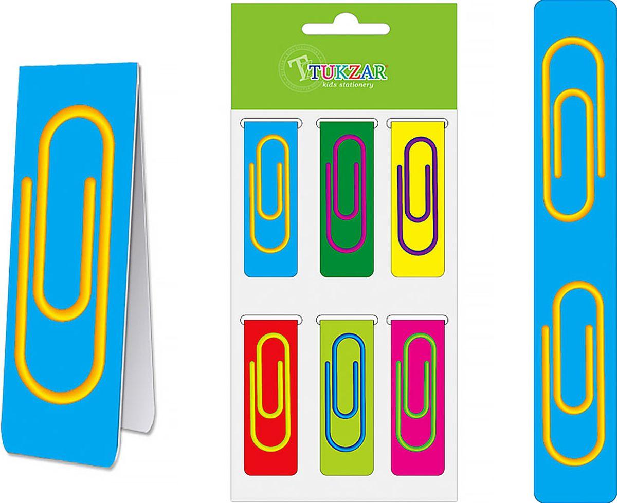 Tukzar Закладка Цветные скрепки 6 штTZ 7919Магнитная закладка — аксессуар для тех, кто любит читать и хранить информацию в бумажном виде. Она удобна в использовании, не потеряется и не выпадет из книги или блокнота.